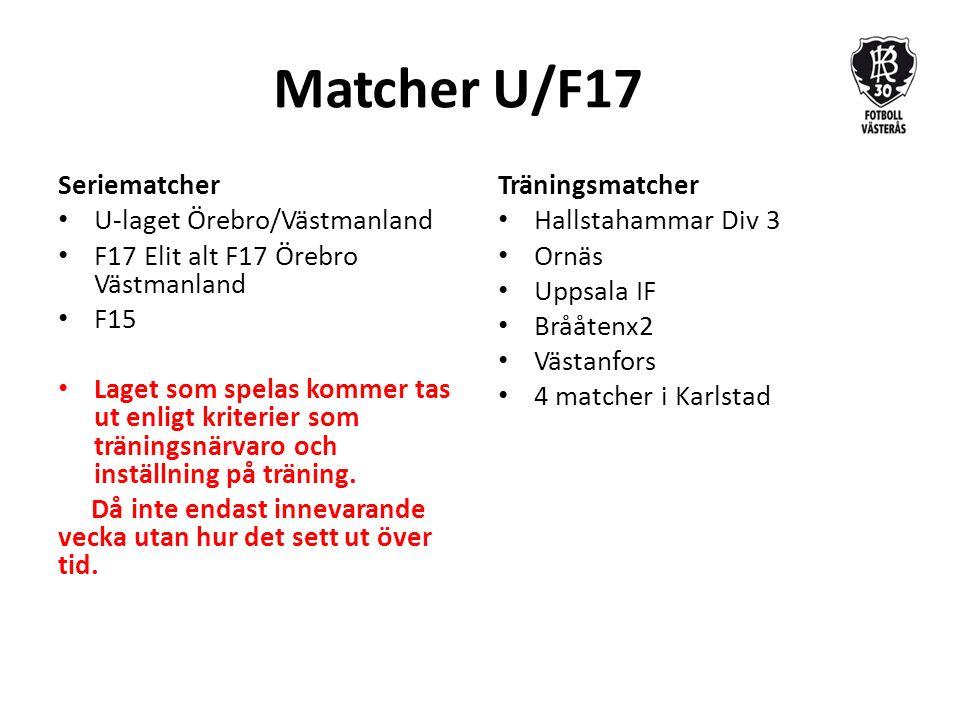 Matcher U/F17 Seriematcher U-laget Örebro/Västmanland F17 Elit alt F17 Örebro Västmanland F15 Laget som spelas kommer tas ut enligt kriterier som träningsnärvaro och inställning på träning.