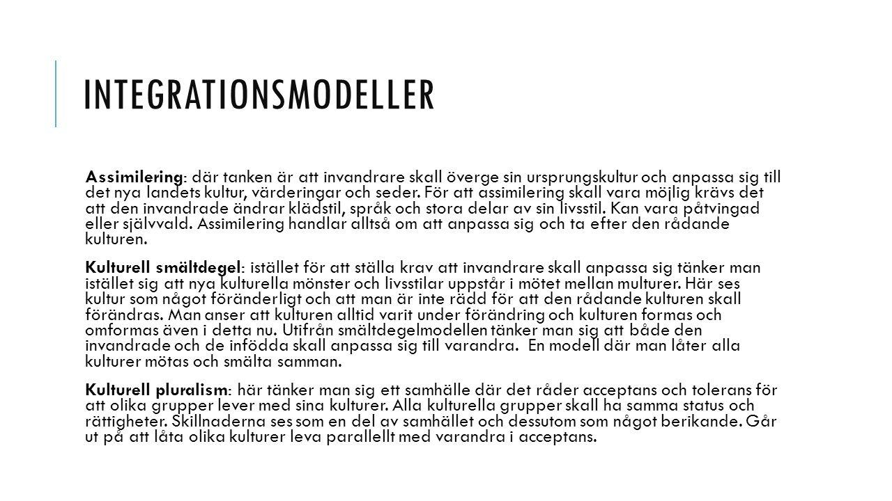 DISKUSSION vilka inslag av de olika integrationsmodellerna känner du igen i det svenska samhället.