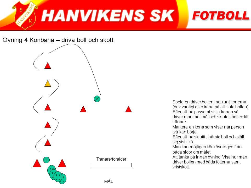 Övning 4 Konbana – driva boll och skott Spelaren driver bollen mot runt konerna, (driv vanligt eller träna på att sula bollen) Efter att ha passerat sista konen så drivar man mot mål och skjuter.