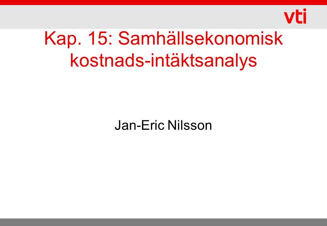 Kap. 15: Samhällsekonomisk kostnads-intäktsanalys Jan-Eric Nilsson