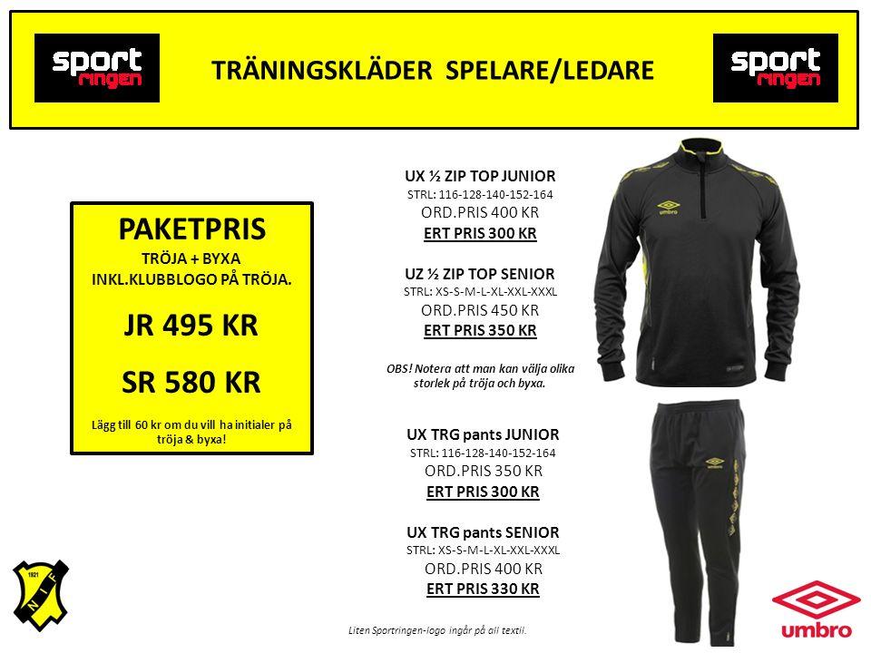 TRÄNINGSKLÄDER SPELARE/LEDARE Liten Sportringen-logo ingår på all textil.