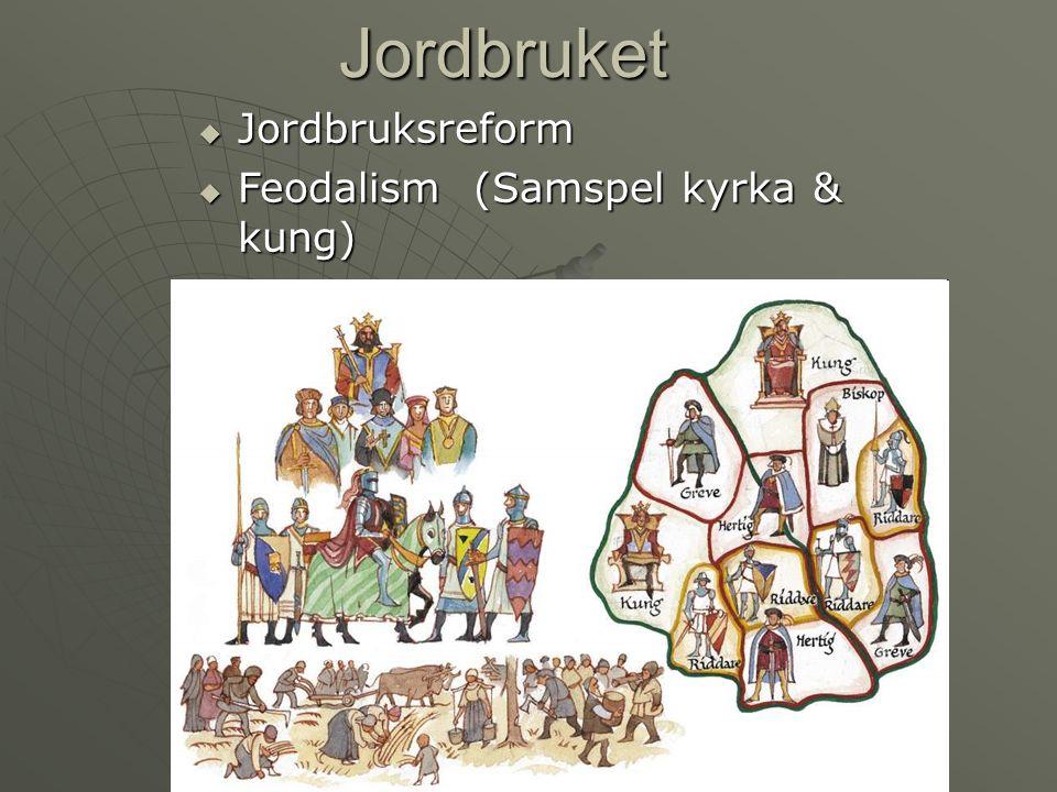  Jordbruksreform  Feodalism (Samspel kyrka & kung) Jordbruket