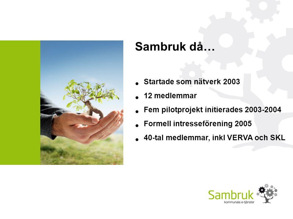 Sambruk då… Startade som nätverk 2003 12 medlemmar Fem pilotprojekt initierades 2003-2004 Formell intresseförening 2005 40-tal medlemmar, inkl VERVA och SKL