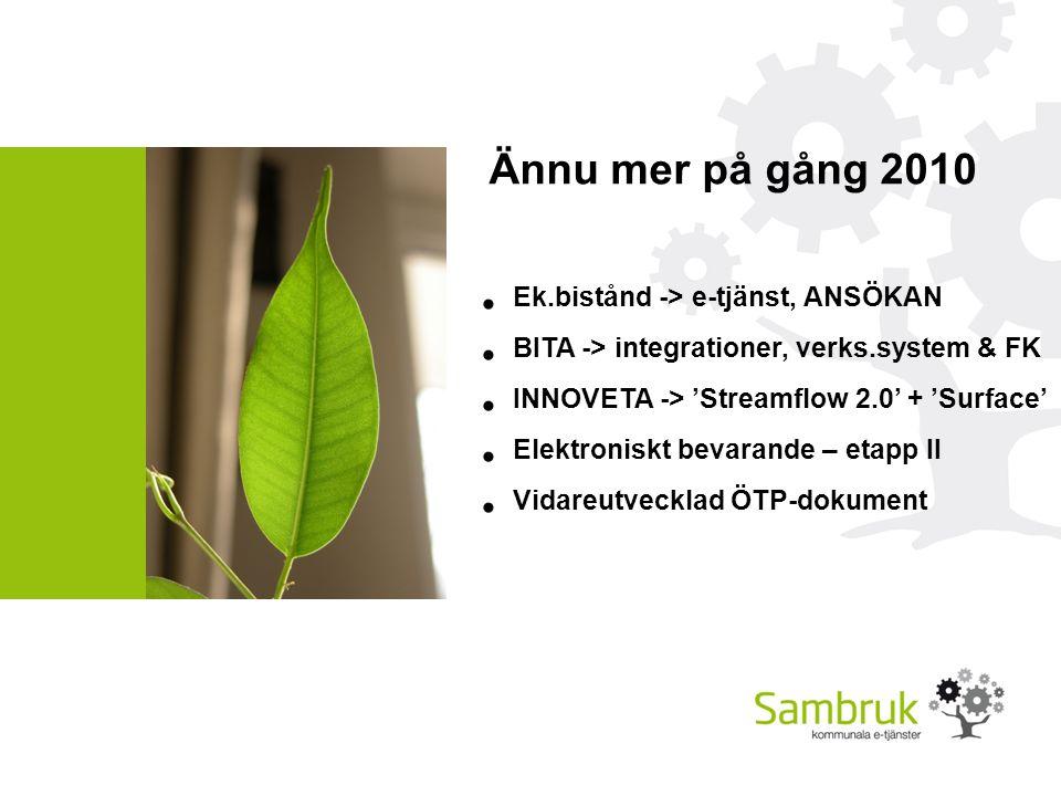 Ännu mer på gång 2010 Ek.bistånd -> e-tjänst, ANSÖKAN BITA -> integrationer, verks.system & FK INNOVETA -> 'Streamflow 2.0' + 'Surface' Elektroniskt bevarande – etapp II Vidareutvecklad ÖTP-dokument