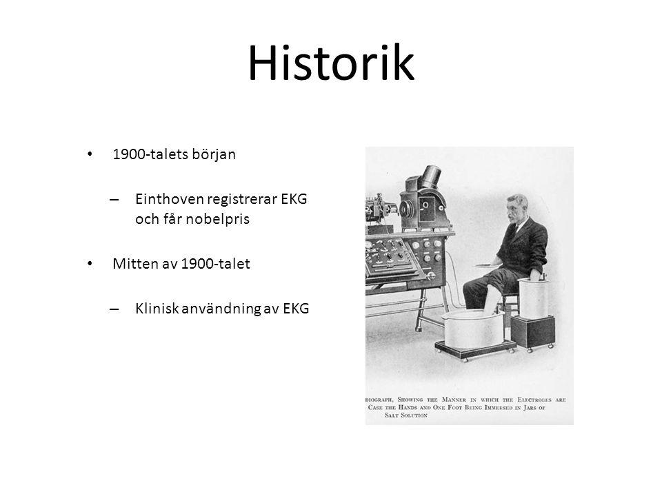 Historik 1900-talets början – Einthoven registrerar EKG och får nobelpris Mitten av 1900-talet – Klinisk användning av EKG
