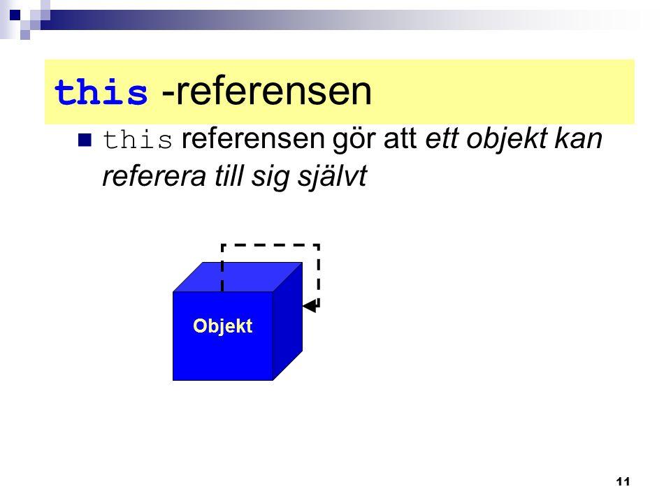 11 this -referensen this referensen gör att ett objekt kan referera till sig självt Objekt