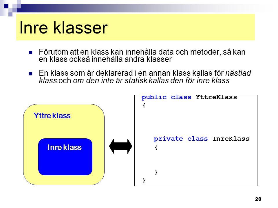 20 Inre klasser Förutom att en klass kan innehålla data och metoder, så kan en klass också innehålla andra klasser En klass som är deklarerad i en ann