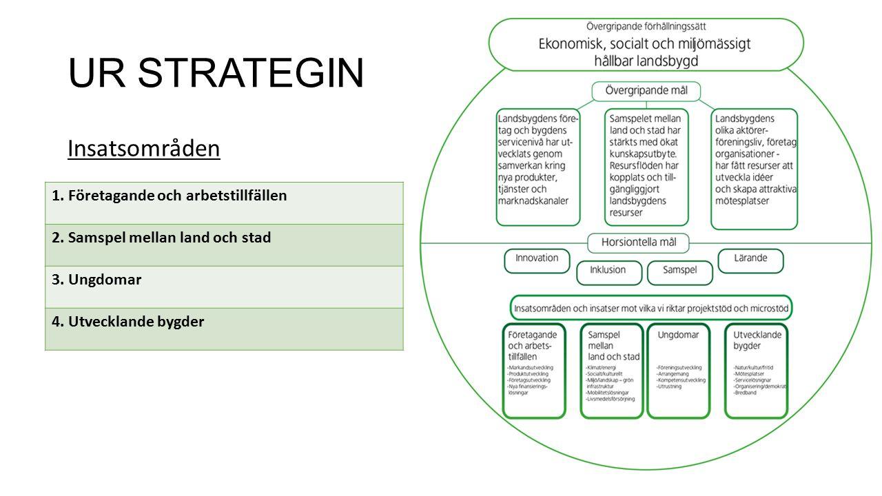 UR STRATEGIN Insatsområden 1. Företagande och arbetstillfällen 2.