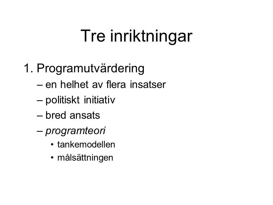 Tre inriktningar 1. Programutvärdering –en helhet av flera insatser –politiskt initiativ –bred ansats –programteori tankemodellen målsättningen