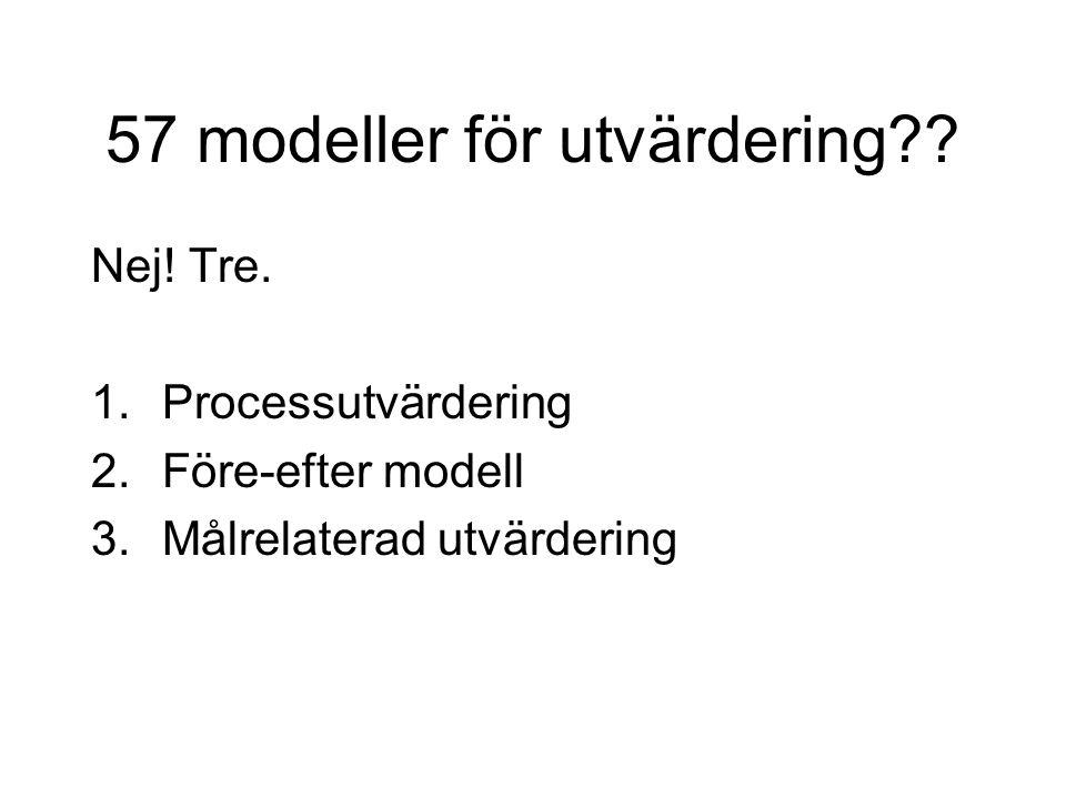 57 modeller för utvärdering?? Nej! Tre. 1.Processutvärdering 2.Före-efter modell 3.Målrelaterad utvärdering