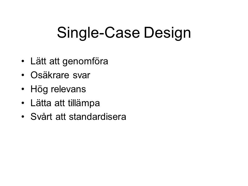 Single-Case Design Lätt att genomföra Osäkrare svar Hög relevans Lätta att tillämpa Svårt att standardisera