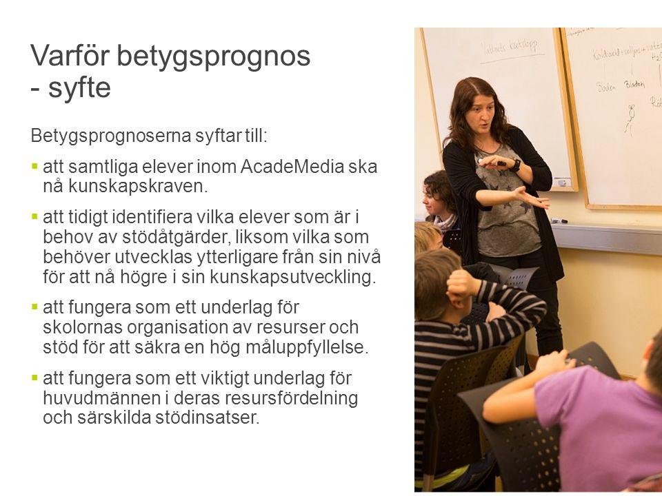 Varför betygsprognos - syfte Betygsprognoserna syftar till:  att samtliga elever inom AcadeMedia ska nå kunskapskraven.  att tidigt identifiera vilk