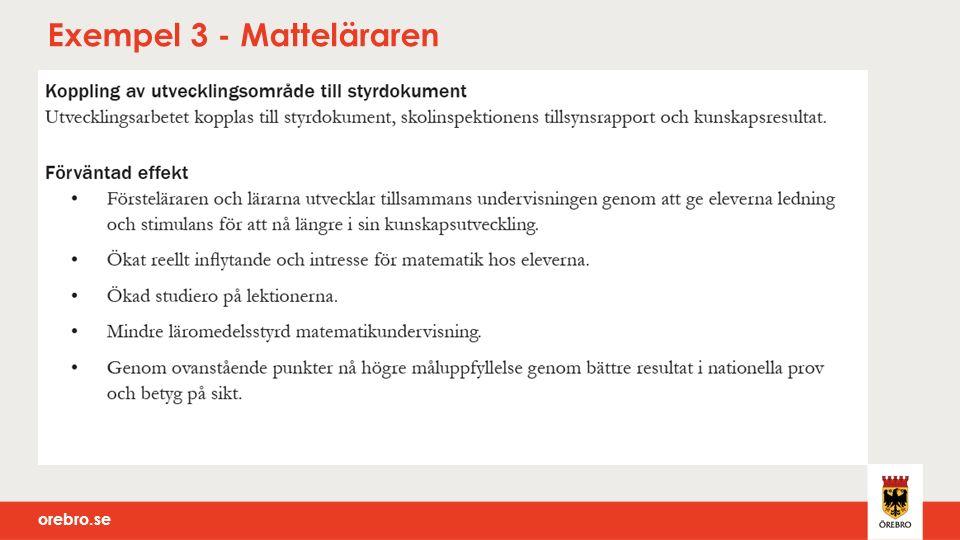 orebro.se Exempel 3 - Matteläraren