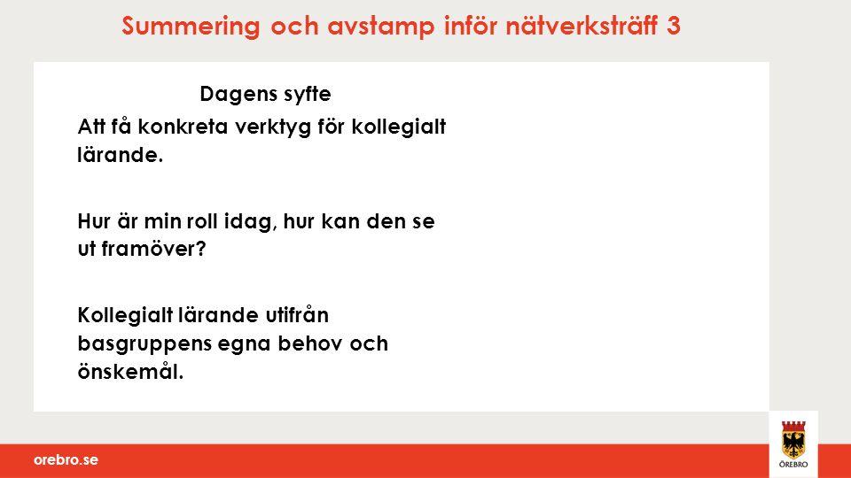 orebro.se Summering och avstamp inför nätverksträff 3 Dagens syfte Att få konkreta verktyg för kollegialt lärande.
