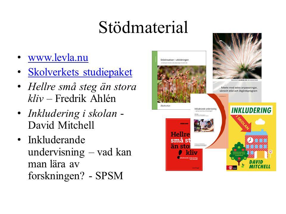 Stödmaterial www.levla.nu Skolverkets studiepaket Hellre små steg än stora kliv – Fredrik Ahlén Inkludering i skolan - David Mitchell Inkluderande undervisning – vad kan man lära av forskningen.