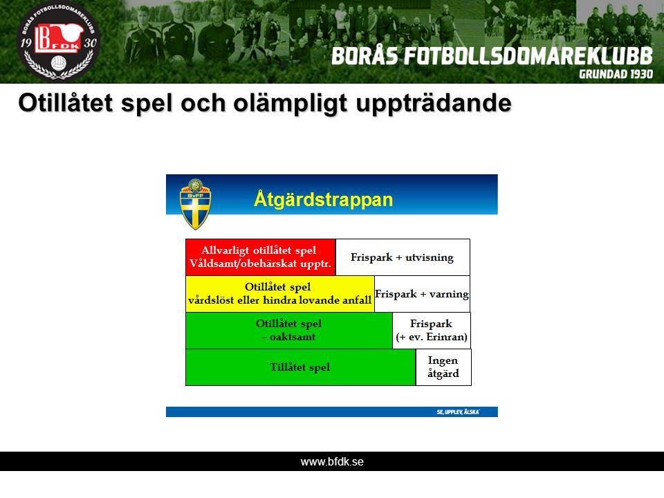 www.bfdk.se Otillåtet spel och olämpligt uppträdande