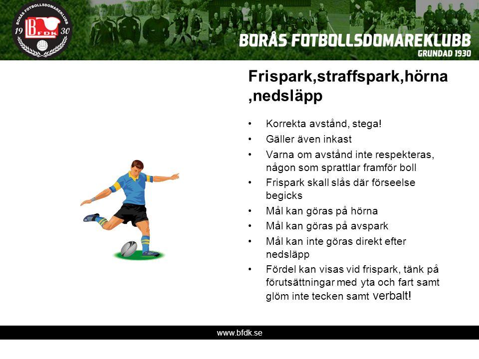 www.bfdk.se Frispark,straffspark,hörna,nedsläpp Korrekta avstånd, stega! Gäller även inkast Varna om avstånd inte respekteras, någon som sprattlar fra