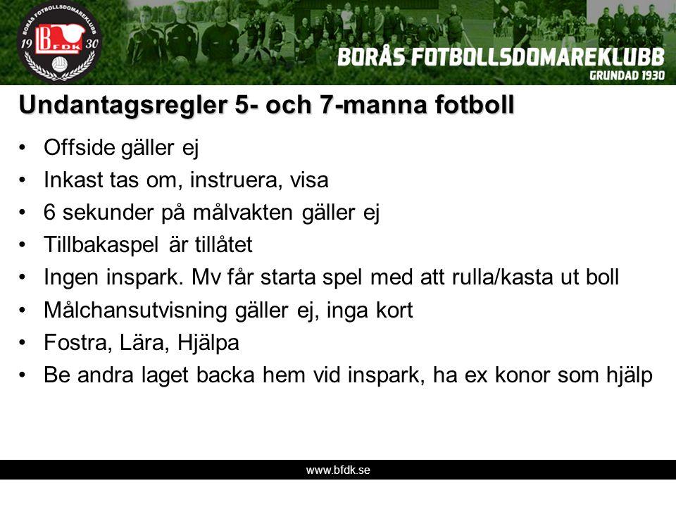 www.bfdk.se Undantagsregler 5- och 7-manna fotboll Offside gäller ej Inkast tas om, instruera, visa 6 sekunder på målvakten gäller ej Tillbakaspel är