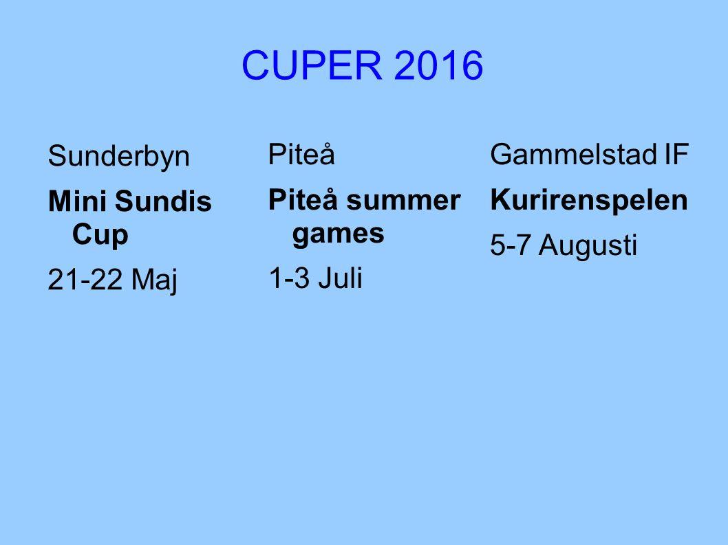 CUPER 2016 Sunderbyn Mini Sundis Cup 21-22 Maj Gammelstad IF Kurirenspelen 5-7 Augusti Piteå Piteå summer games 1-3 Juli