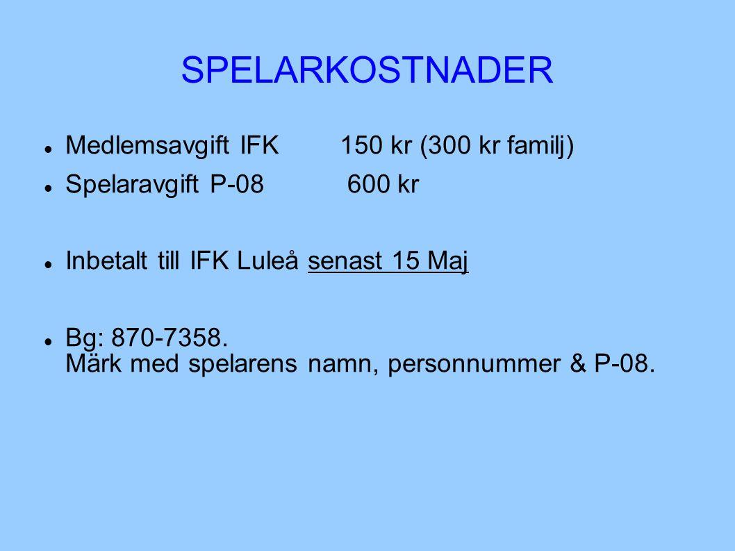 SPELARKOSTNADER Medlemsavgift IFK 150 kr (300 kr familj) Spelaravgift P-08 600 kr Inbetalt till IFK Luleå senast 15 Maj Bg: 870-7358. Märk med spelare