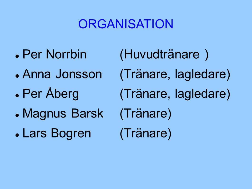 ORGANISATION Per Norrbin(Huvudtränare ) Anna Jonsson(Tränare, lagledare) Per Åberg(Tränare, lagledare) Magnus Barsk (Tränare) Lars Bogren(Tränare)