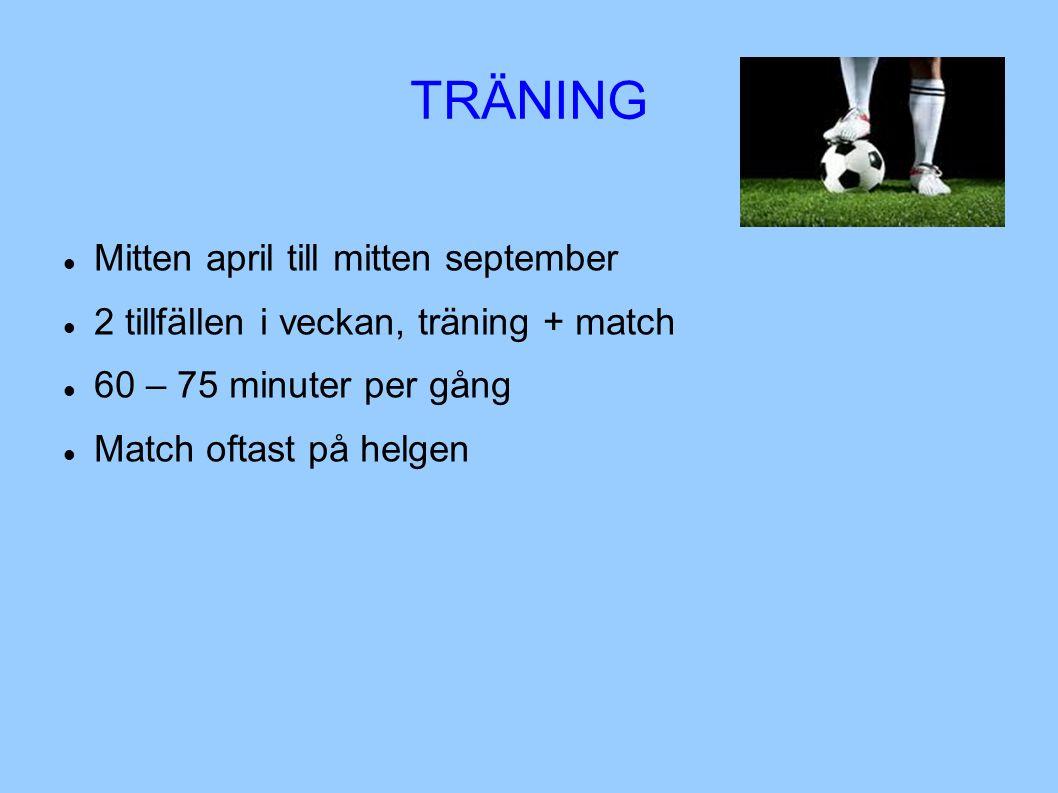 TRÄNING Mitten april till mitten september 2 tillfällen i veckan, träning + match 60 – 75 minuter per gång Match oftast på helgen