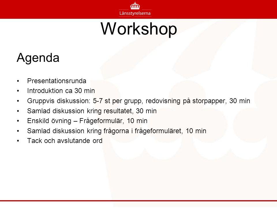 Workshop Agenda Presentationsrunda Introduktion ca 30 min Gruppvis diskussion: 5-7 st per grupp, redovisning på storpapper, 30 min Samlad diskussion kring resultatet, 30 min Enskild övning – Frågeformulär, 10 min Samlad diskussion kring frågorna i frågeformuläret, 10 min Tack och avslutande ord