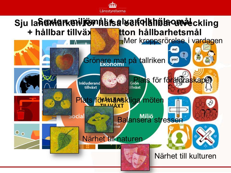 Sexton miljömål + elva folkhälsomål + hållbar tillväxt + sjutton hållbarhetsmål Mer kroppsrörelse i vardagen Grönare mat på tallriken Plats för föräldraskapet Plats för mänskliga möten Balansera stressen Närhet till naturen Närhet till kulturen Sju landmärken för hälsa och hållbar utveckling