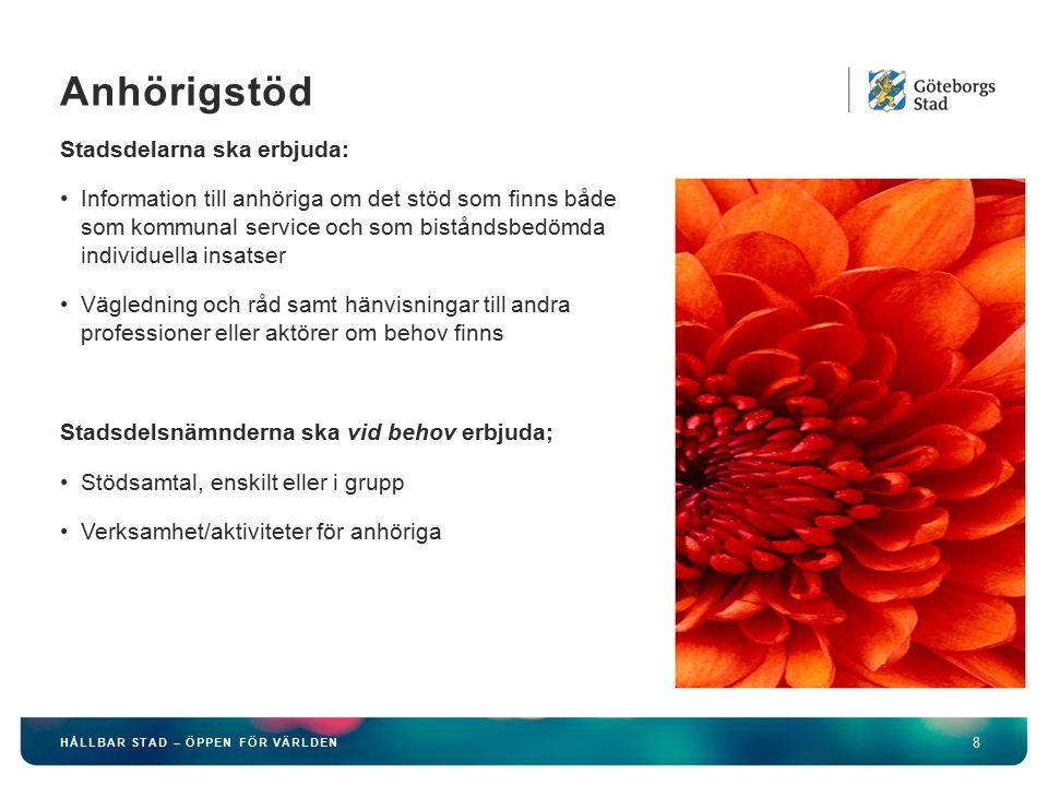 HÅLLBAR STAD – ÖPPEN FÖR VÄRLDEN 8 Stadsdelarna ska erbjuda: Information till anhöriga om det stöd som finns både som kommunal service och som bistånd