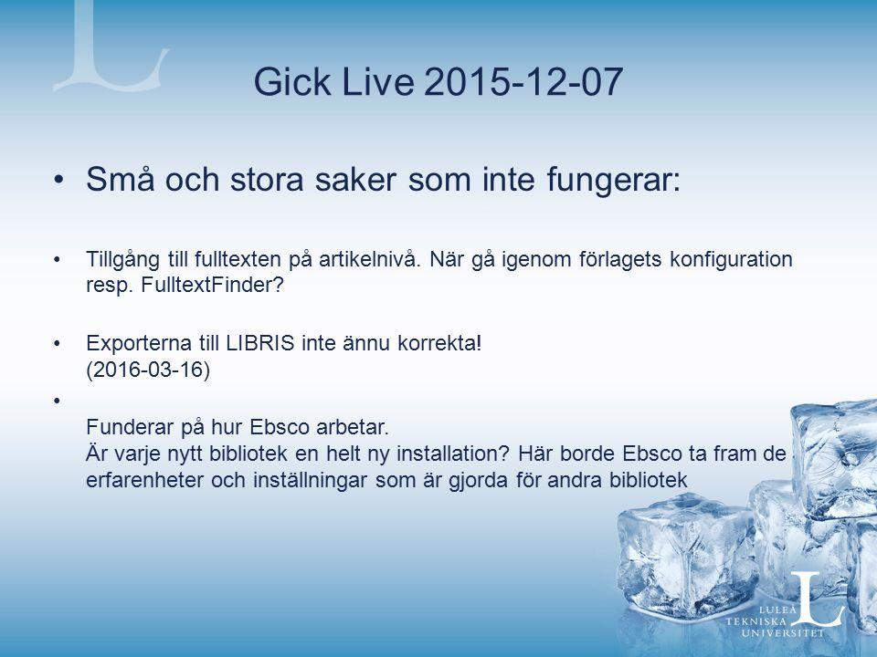 Gick Live 2015-12-07 Små och stora saker som inte fungerar: Tillgång till fulltexten på artikelnivå. När gå igenom förlagets konfiguration resp. Fullt