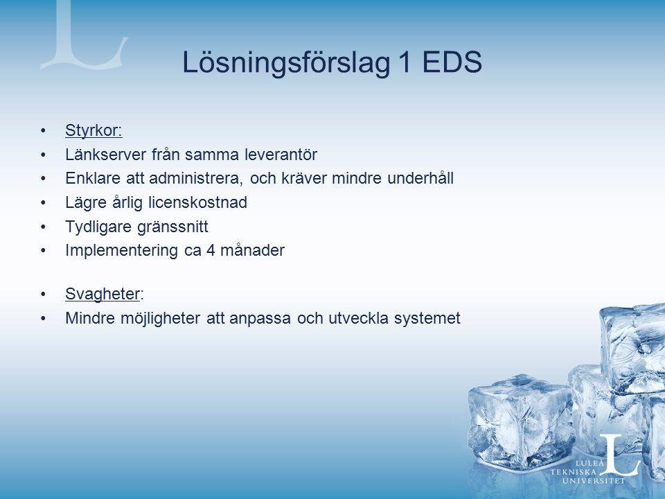 Lösningsförslag 1 EDS Styrkor: Länkserver från samma leverantör Enklare att administrera, och kräver mindre underhåll Lägre årlig licenskostnad Tydlig