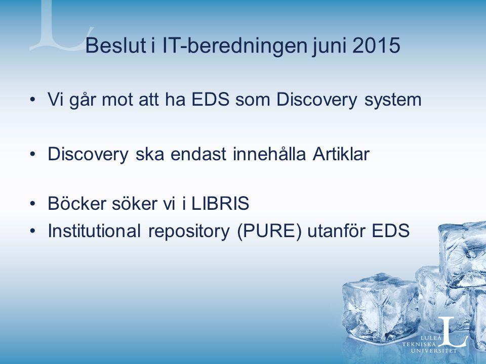 Beslut i IT-beredningen juni 2015 Vi går mot att ha EDS som Discovery system Discovery ska endast innehålla Artiklar Böcker söker vi i LIBRIS Institutional repository (PURE) utanför EDS