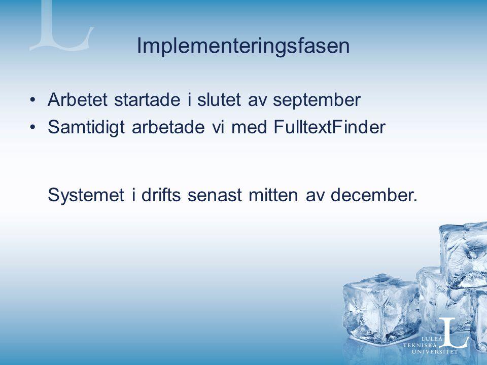 Implementeringsfasen Arbetet startade i slutet av september Samtidigt arbetade vi med FulltextFinder Systemet i drifts senast mitten av december.
