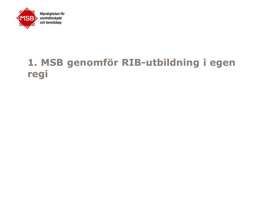 1. MSB genomför RIB-utbildning i egen regi