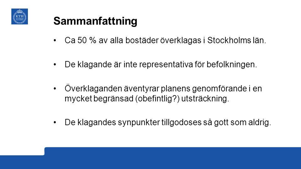 Sammanfattning Ca 50 % av alla bostäder överklagas i Stockholms län.