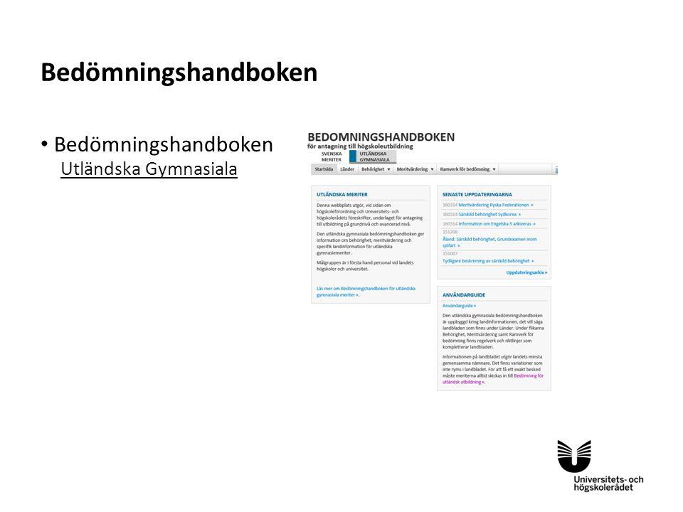 Sv Komplettering och urvalsplacering Grundläggande behörighet Särskild behörighet Kompletteringsformel Meritpoängs- kompensation Antagning.se