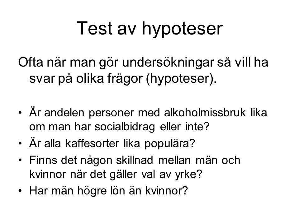 Test av hypoteser Ofta när man gör undersökningar så vill ha svar på olika frågor (hypoteser). Är andelen personer med alkoholmissbruk lika om man har