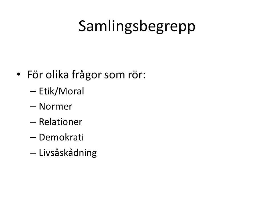 Samlingsbegrepp För olika frågor som rör: – Etik/Moral – Normer – Relationer – Demokrati – Livsåskådning