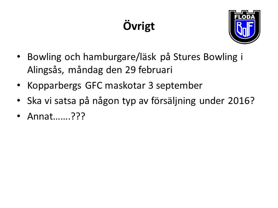 Övrigt Bowling och hamburgare/läsk på Stures Bowling i Alingsås, måndag den 29 februari Kopparbergs GFC maskotar 3 september Ska vi satsa på någon typ av försäljning under 2016.