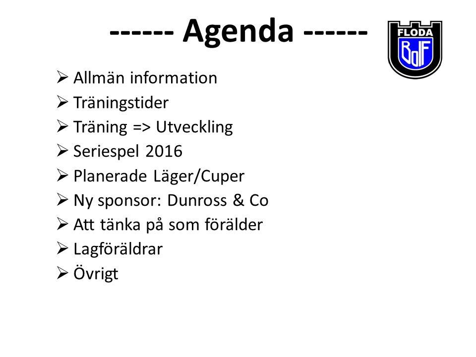 ------ Agenda ------  Allmän information  Träningstider  Träning => Utveckling  Seriespel 2016  Planerade Läger/Cuper  Ny sponsor: Dunross & Co
