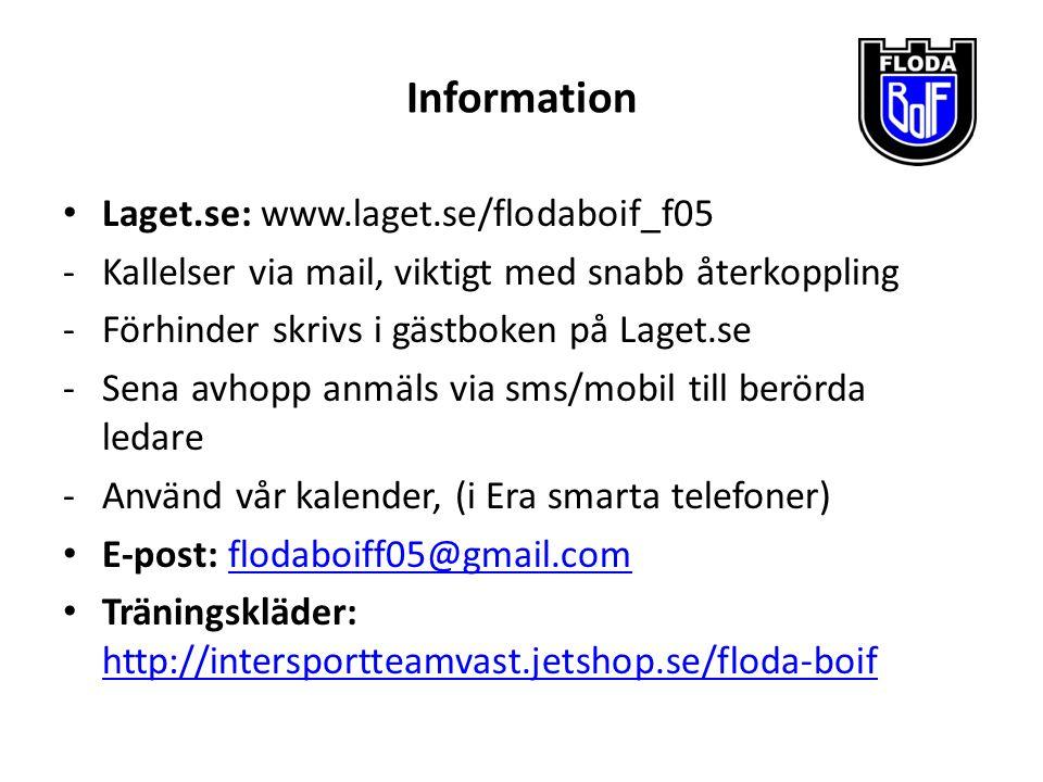 Information Laget.se: www.laget.se/flodaboif_f05 -Kallelser via mail, viktigt med snabb återkoppling -Förhinder skrivs i gästboken på Laget.se -Sena a