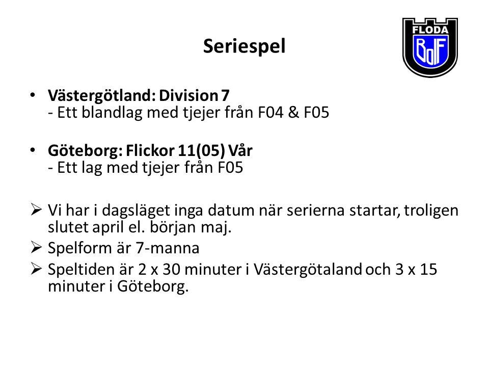 Seriespel Västergötland: Division 7 - Ett blandlag med tjejer från F04 & F05 Göteborg: Flickor 11(05) Vår - Ett lag med tjejer från F05  Vi har i dag