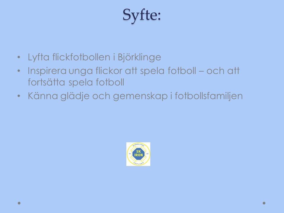 Syfte: Lyfta flickfotbollen i Björklinge Inspirera unga flickor att spela fotboll – och att fortsätta spela fotboll Känna glädje och gemenskap i fotbollsfamiljen