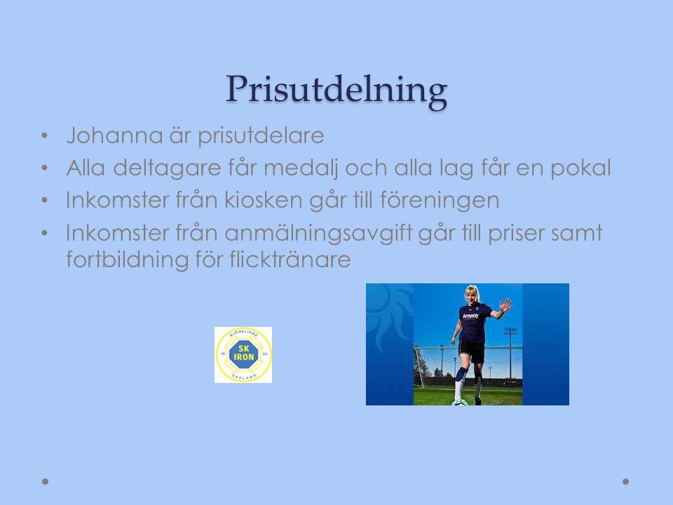 Prisutdelning Johanna är prisutdelare Alla deltagare får medalj och alla lag får en pokal Inkomster från kiosken går till föreningen Inkomster från an