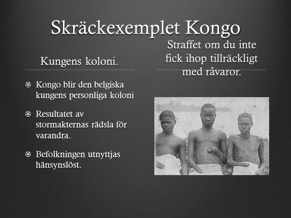 Skräckexemplet Kongo Kungens koloni. Kongo blir den belgiska kungens personliga koloni Resultatet av stormakternas rädsla för varandra. Befolkningen u