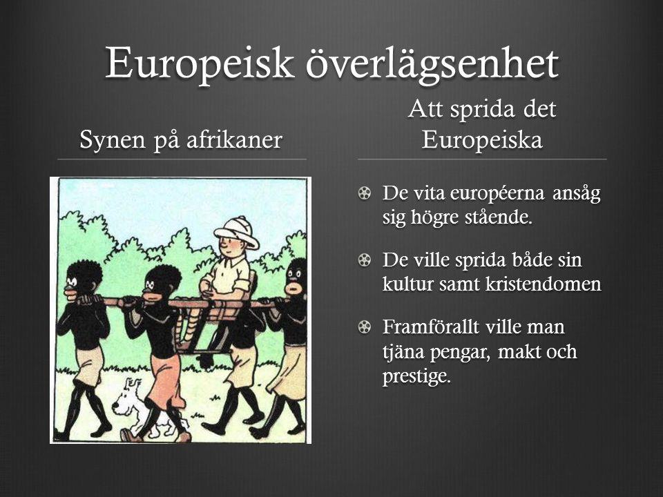 Europeisk överlägsenhet Synen på afrikaner Att sprida det Europeiska De vita européerna ansåg sig högre stående. De ville sprida både sin kultur samt