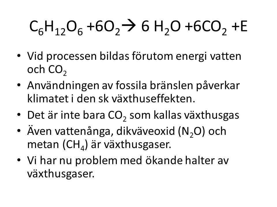 C 6 H 12 O 6 +6O 2  6 H 2 O +6CO 2 +E Vid processen bildas förutom energi vatten och CO 2 Användningen av fossila bränslen påverkar klimatet i den sk växthuseffekten.