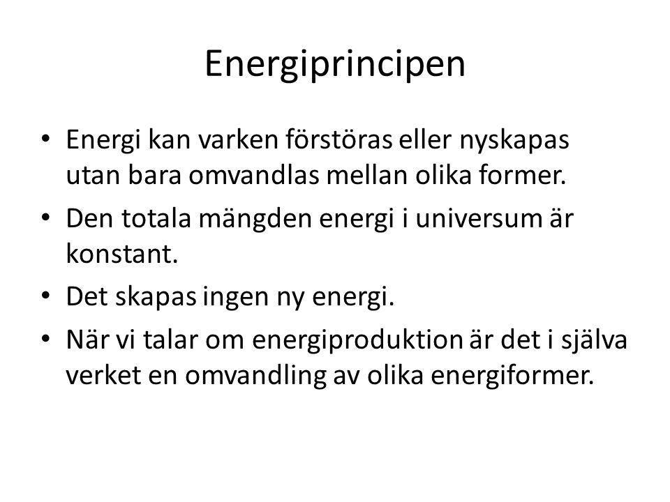 Energiprincipen Energi kan varken förstöras eller nyskapas utan bara omvandlas mellan olika former. Den totala mängden energi i universum är konstant.