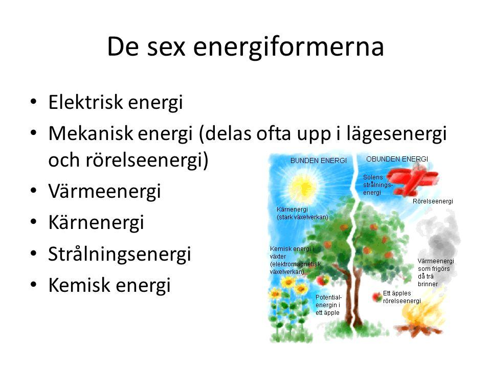 De sex energiformerna Elektrisk energi Mekanisk energi (delas ofta upp i lägesenergi och rörelseenergi) Värmeenergi Kärnenergi Strålningsenergi Kemisk