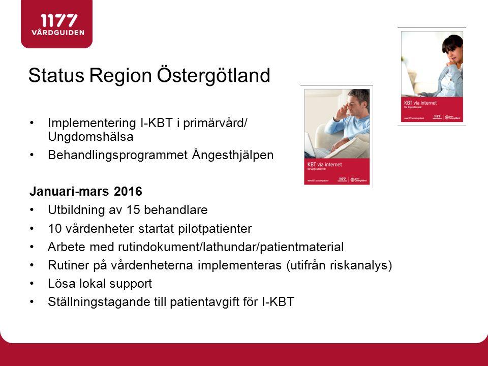 Implementering I-KBT i primärvård/ Ungdomshälsa Behandlingsprogrammet Ångesthjälpen Januari-mars 2016 Utbildning av 15 behandlare 10 vårdenheter start